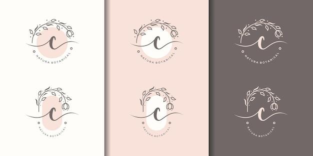 Letra c femenina con plantilla de logotipo de marco floral