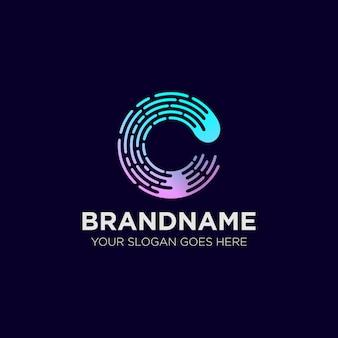 Letra c gradiente tecnología logo tempate