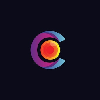 Letra c con logo óptico