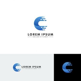 Letra c logo tecnología icono vector