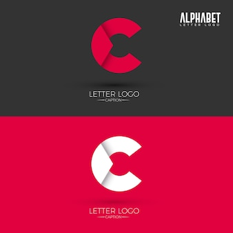 Letra c origami style logo