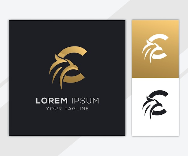 Letra c con plantilla de logotipo de águila abstracta de lujo