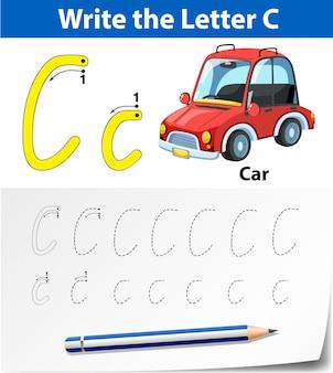 Letra c trazando las hojas del alfabeto