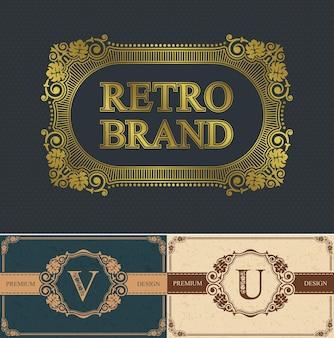 Letra caligráfica v y u y borde de marca retro, borde de diseño lujoso, decoraciones elegantes líneas reales