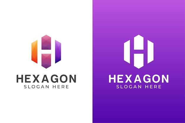 Letra de color moderno h con diseño de logotipo hexagonal dos versiones