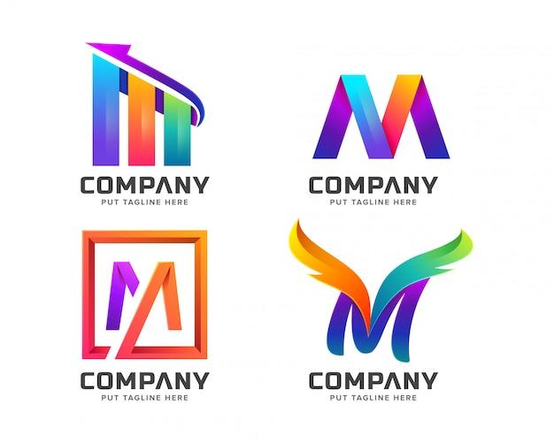 Letra colorida colección de logotipo inicial m