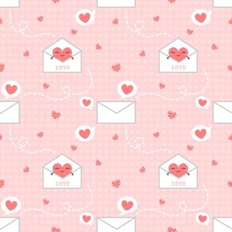 Letra y corazón de patrones sin fisuras