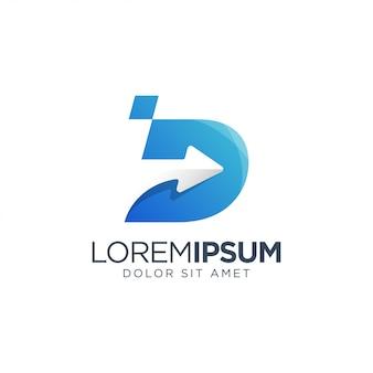 Letra d flecha logotipo