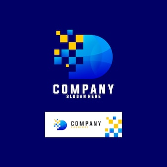 Letra d con logotipo de tecnología de píxeles