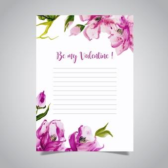 Letra de amor acuarela de san valentín