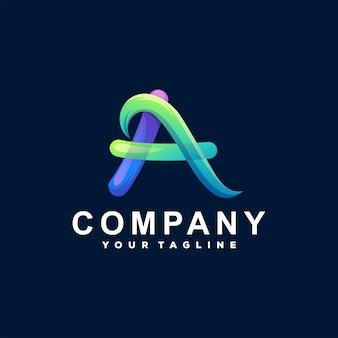 Letra a diseño de logotipo degradado