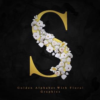 Letra dorada s fondo floral acuarela