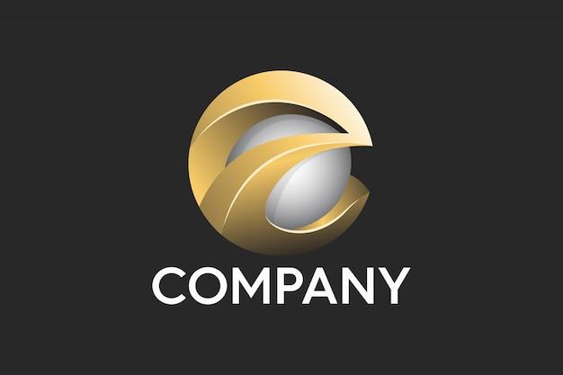 Letra e abstracto profesional logo 3d