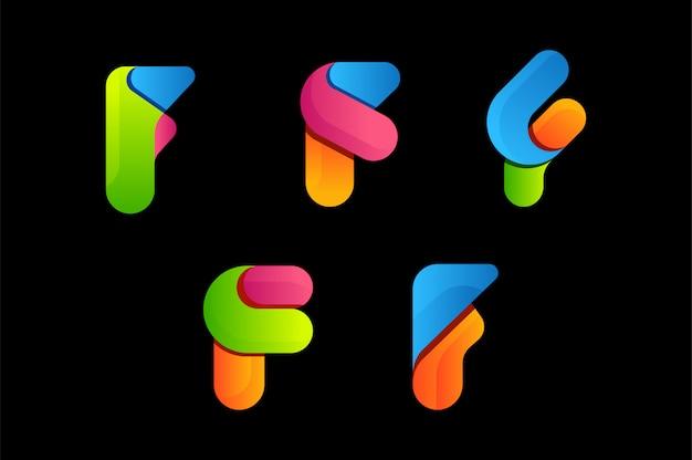 Letra f colorido vector logo