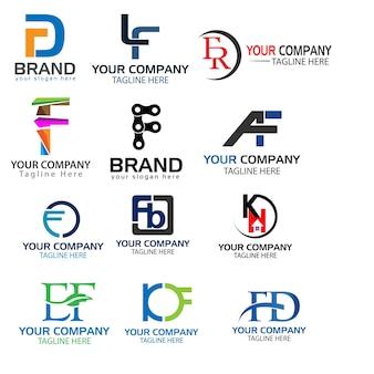 Letra f conjunto de logotipos. conjunto de vectores de logotipo de letra f creativo.