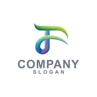 Letra f logo color degradado