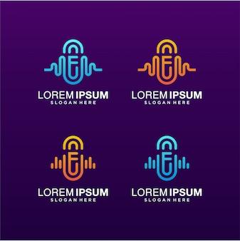 Letra f con logotipo de onda de audio