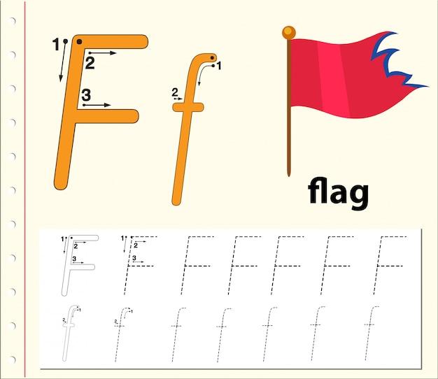 Letra f trazando hojas de ejercicios del abecedario
