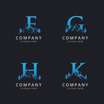 Letra fgh y k con plantilla de logotipo de montaña abstracta