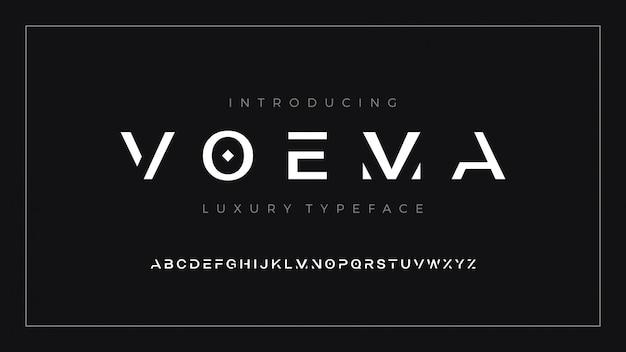 Letra de fuente limpia moderna de lujo establece tipografía voema