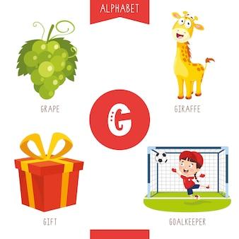Letra g del alfabeto y fotos
