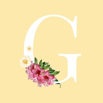 Letra g blanca decorada con mano dibujado vector de flores de momias