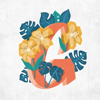 Letra g creativa con flores y hojas
