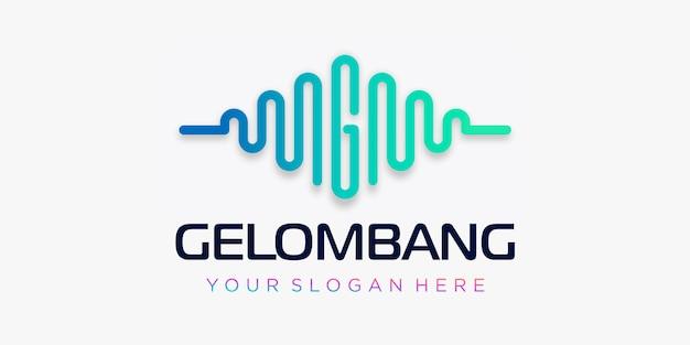 Letra g con diseño de logotipo de pulso. elemento de onda plantilla de logotipo de música electrónica, ecualizador, tienda, música de dj, discoteca, discoteca. concepto de logotipo de onda de audio, temática de tecnología multimedia, forma abstracta.