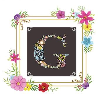 Letra g inicial con vector floral