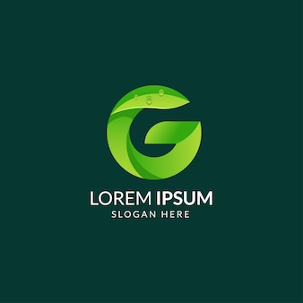 Letra g logo hoja verde