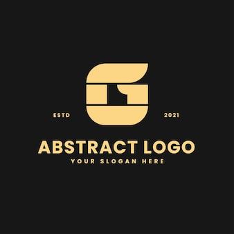 Letra g lujoso bloque geométrico de oro concepto logo vector icono ilustración