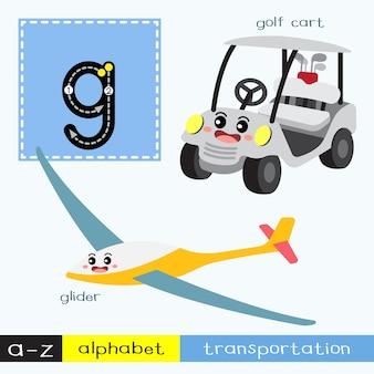 Letra g minúscula trazando el vocabulario de transportes