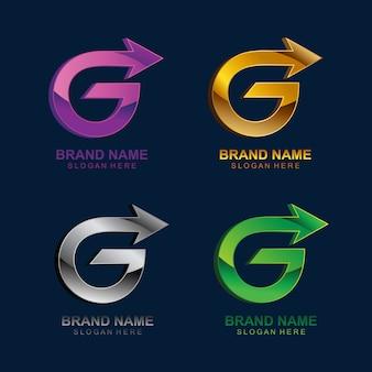 Letra g con plantilla de logotipo de flecha