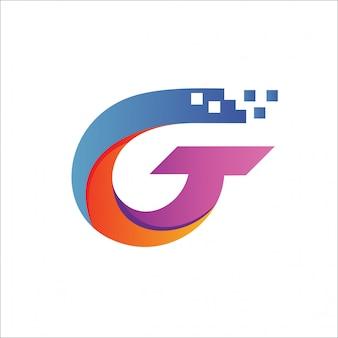 Letra g tech pixel logo vector