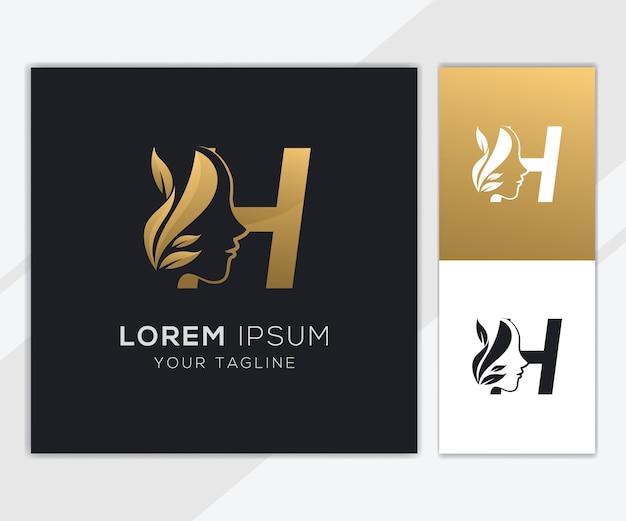 Letra h con plantilla de logotipo de belleza femenina natural de lujo