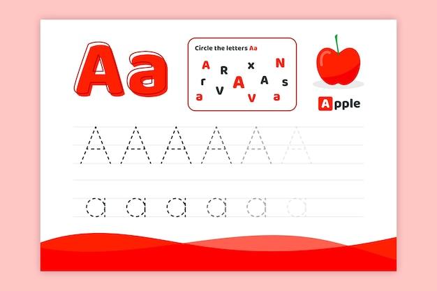 Letra a hoja de trabajo con manzana