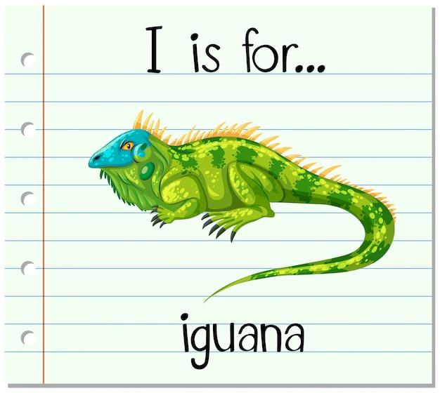 La letra i de la flashcard es para iguana