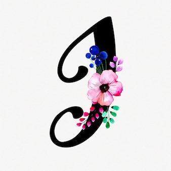 Letra i fondo floral acuarela