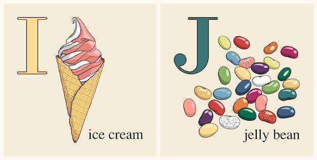 Letra i con helado