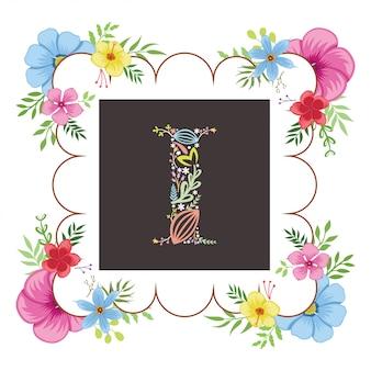 Letra i inicial con vector floral