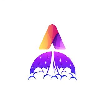 Letra a ilustración de diseño de logotipo de cohete