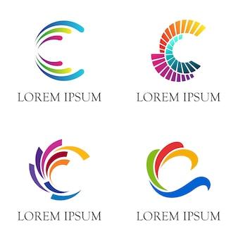 Letra inicial c diseño de logotipo con estilo multicolor.
