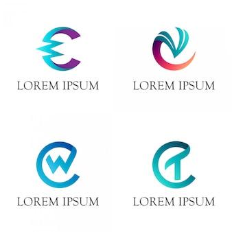 Letra inicial c monograma logo
