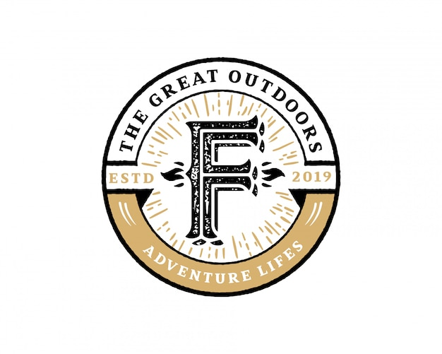 Letra inicial creativa f retro vintage hipster y grunge vector logo design