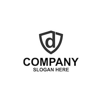 Letra inicial d shield logo premium