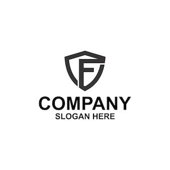 Letra inicial f shield logo premium