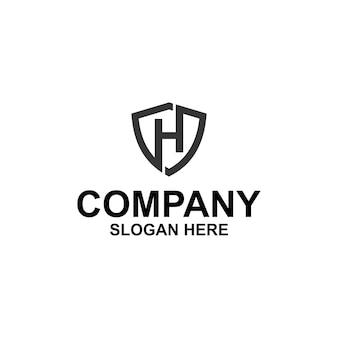 Letra inicial h shield logo premium