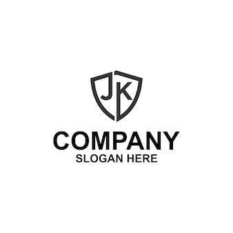 Letra inicial jk shield logo premium