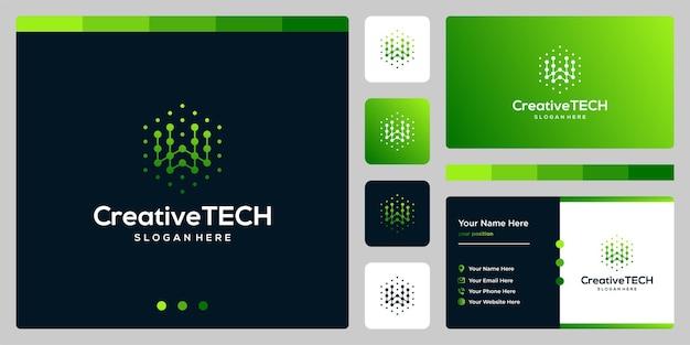 Letra inicial del logotipo de inspiración w abstracto con estilo tecnológico y color degradado. plantilla de tarjeta de visita