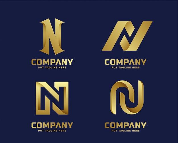 Letra inicial n logo para empresa con color dorado